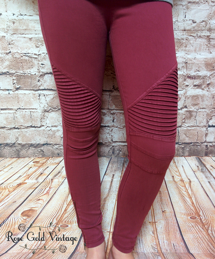 Denim Moto Jeggings - Burgundy - FINAL SALE