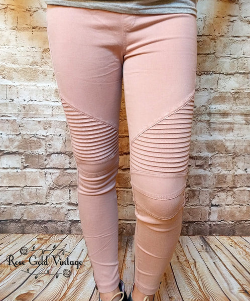 Denim Moto Jeggings - Dusty Pink