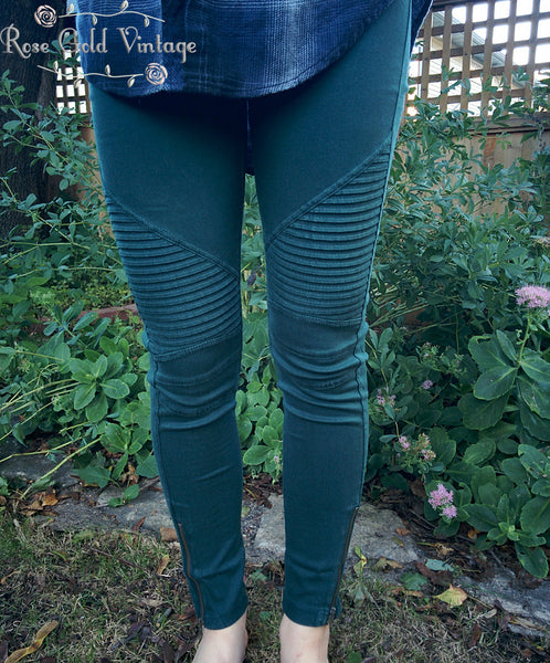 Denim Moto Jeggings - Emerald