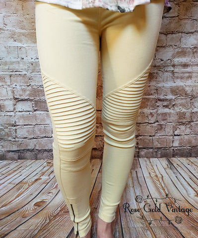 Denim Moto Jeggings - Yellow Freesia