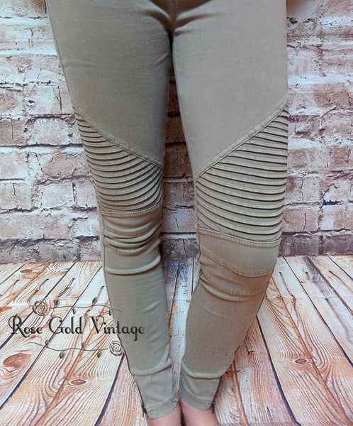 Denim Moto Jeggings - Khaki (Ladies)