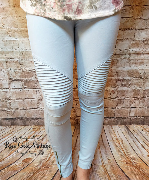 Denim Moto Jeggings - Light Blue