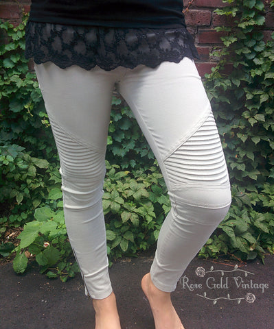 Denim Moto Jeggings - Light Gray (Ladies)