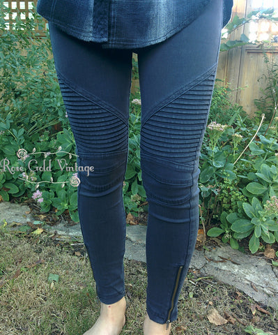Denim Moto Jeggings - Midnight Blue