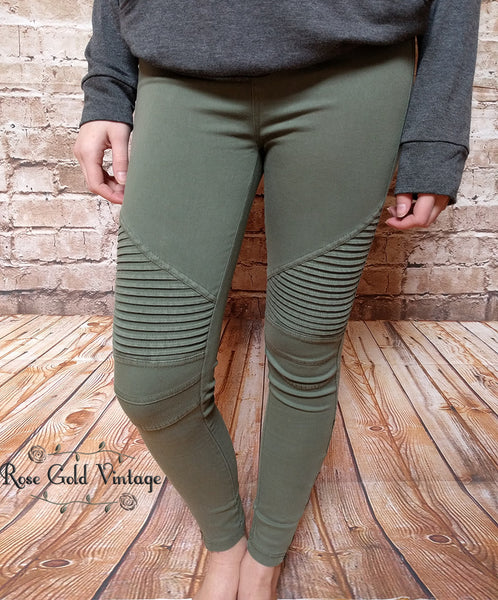 Denim Moto Jeggings - Olive - FINAL SALE