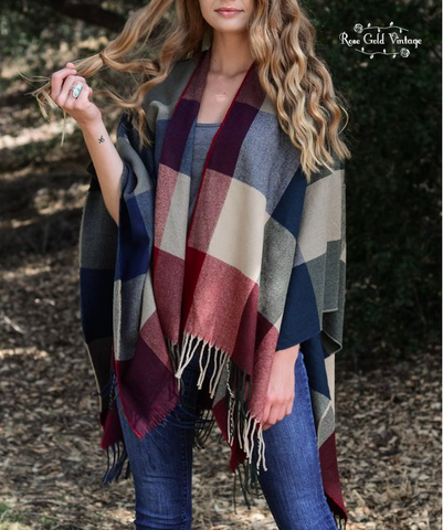 Fabulous Fall Plaid Poncho - Multi