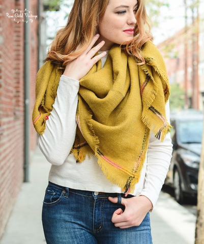 Multi Color Stitch Blanket Scarf - Mustard
