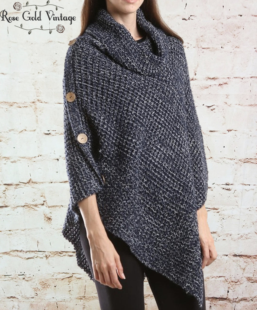 Turtleneck Button Poncho - Navy