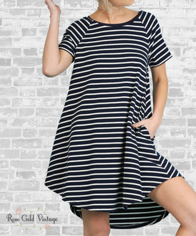 Perfect Pocket Striped Tee Dress - Navy