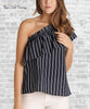 One Shoulder Ruffle Top - Navy