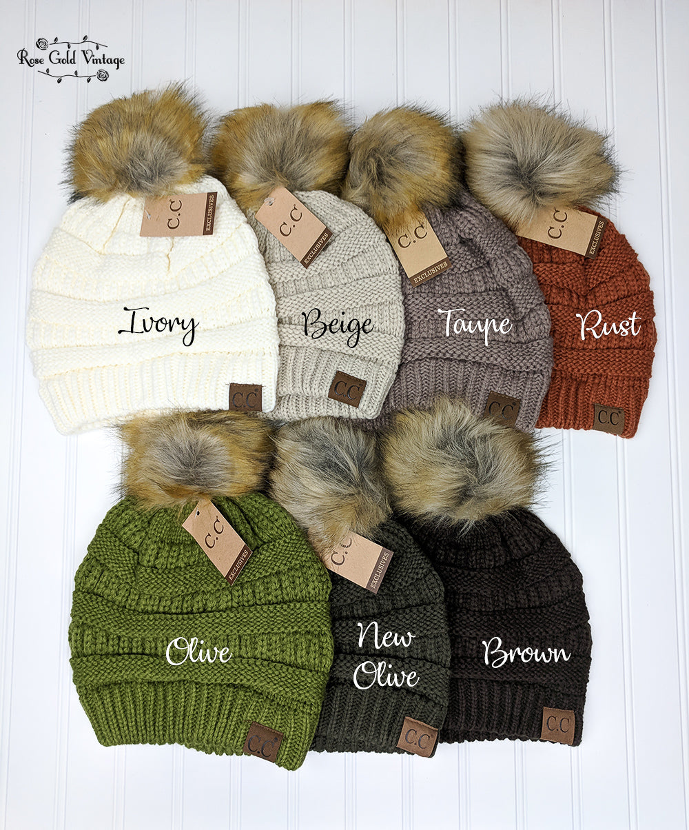 Fur Pom Pom CC Beanie Hats – Rose Gold Vintage bb46880a56d