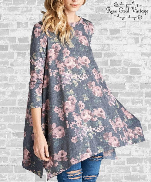 Washed Floral Tunic - Charcoal