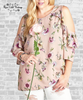 Floral Ruffle Cold Shoulder Top - Taupe