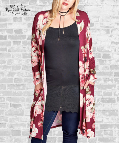 Long Floral Cardigan - Burgundy