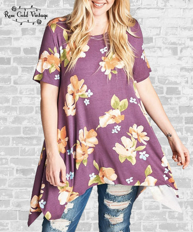 Floral Print Sharkbite Top - Purple
