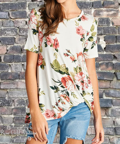 Floral Knot Top - Ivory