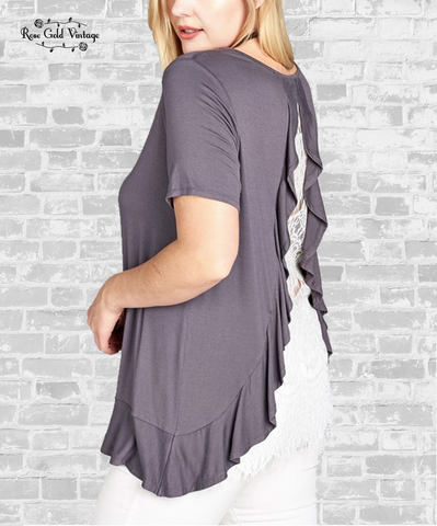 Lace Back Ruffle Top - Charcoal