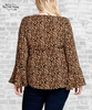 Tie Front Bell Sleeve Blouse - Leopard