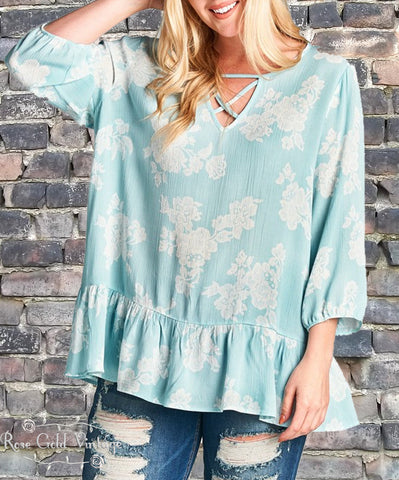 Mint Floral Blouse