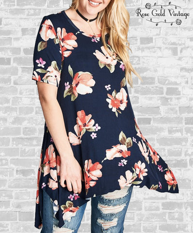 Floral Print Sharkbite Top - Navy