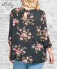 Tie Back Floral Blouse - Black