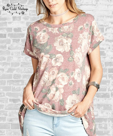 Washed Floral Crossover Tunic - Rose