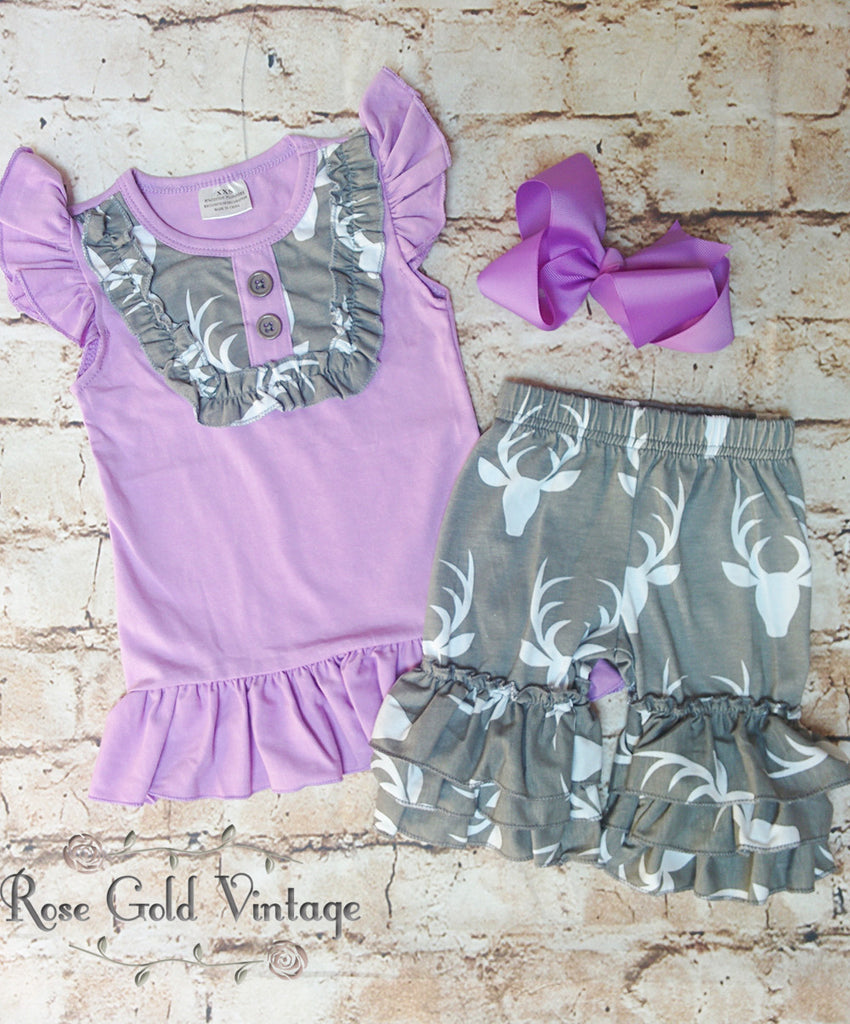 Oh Deer Ruffled Tank & Shorts (Toddler & Girls)
