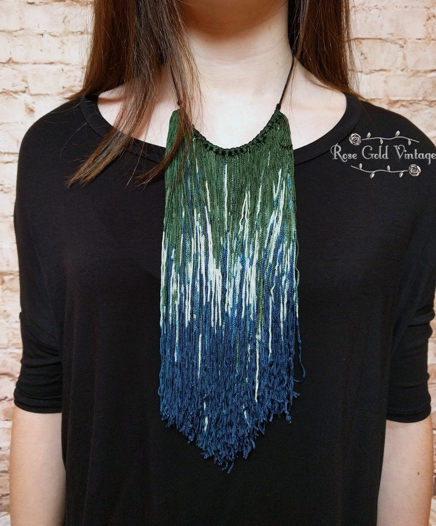 Bohemian Waterfall Fringe Statement Necklace