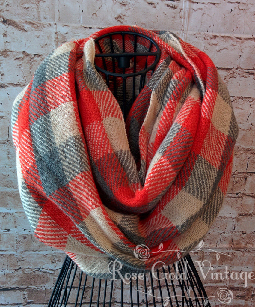 Orange & Gray Plaid Infinity Scarf