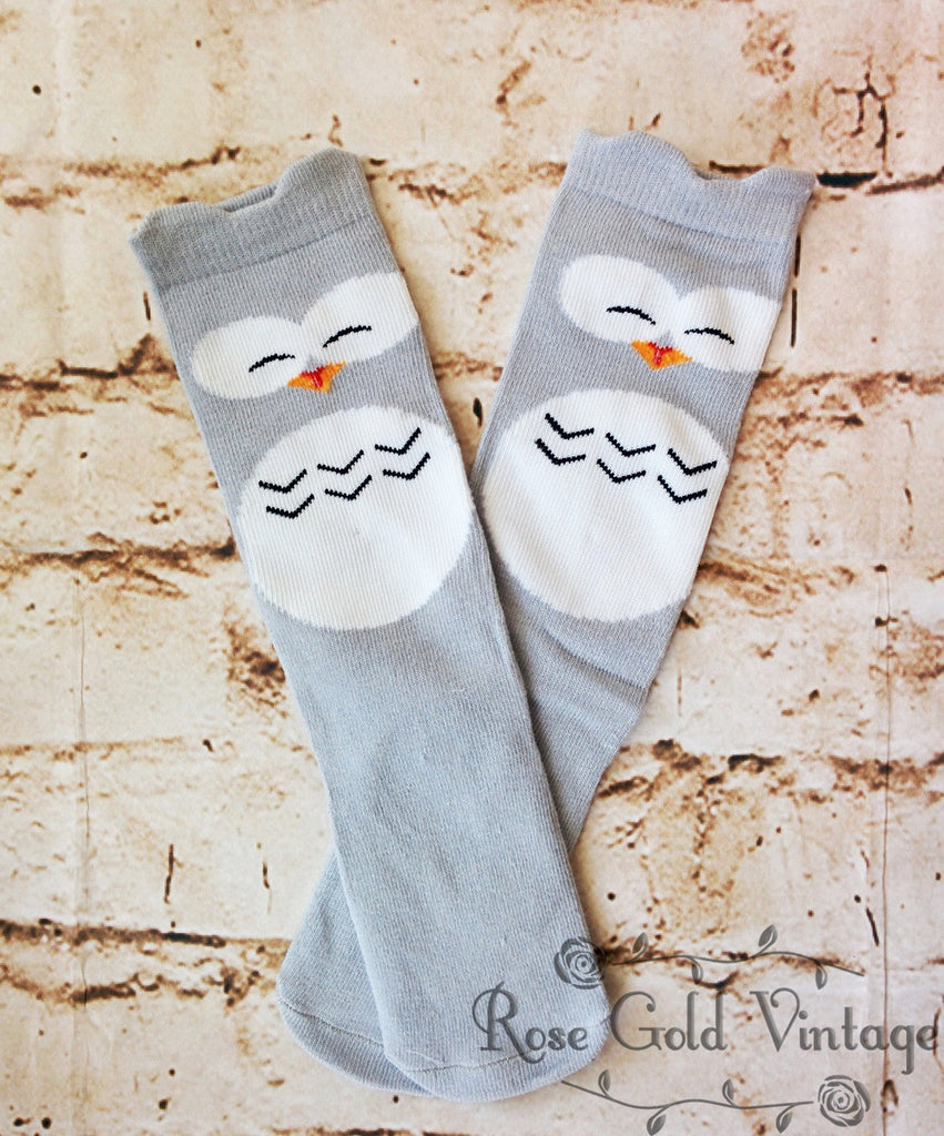 Gray Owl Knee Socks (Infant & Toddler)