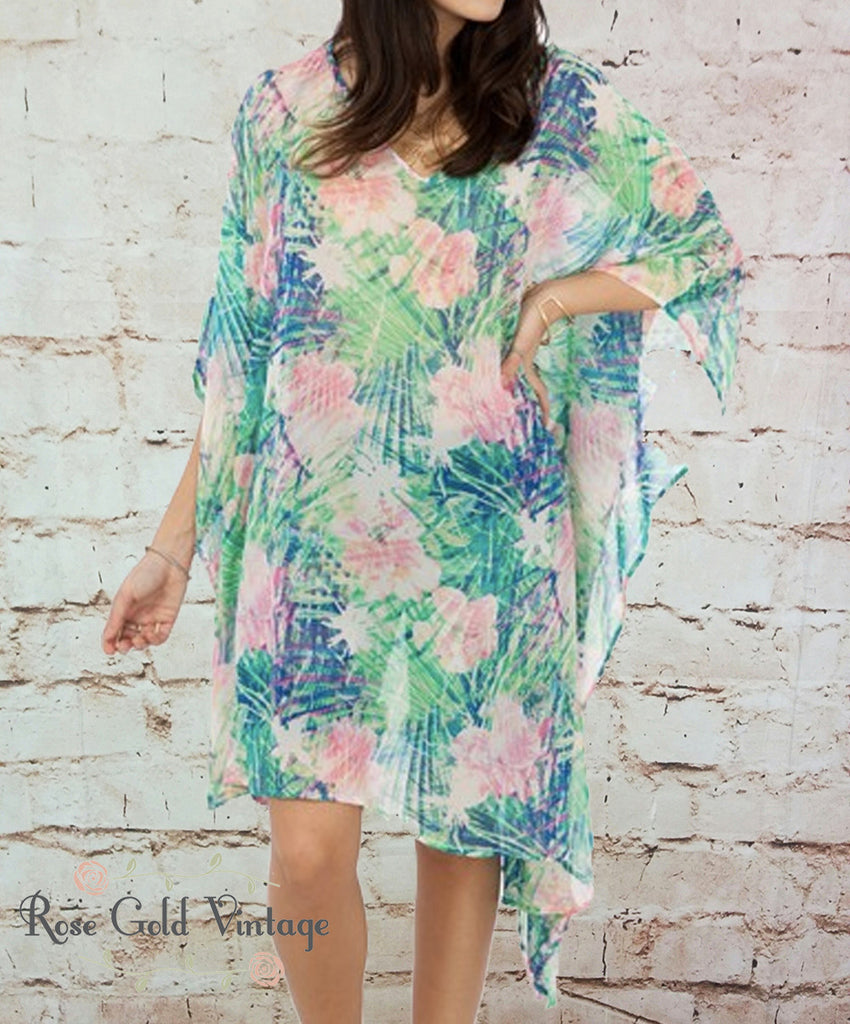Tropical Sheer Tunic Cover Up Beach Dress (Ladies)