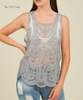 Scalloped Edge Lace Tank - Grey