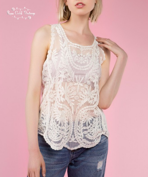 Scalloped Edge Lace Tank - Natural