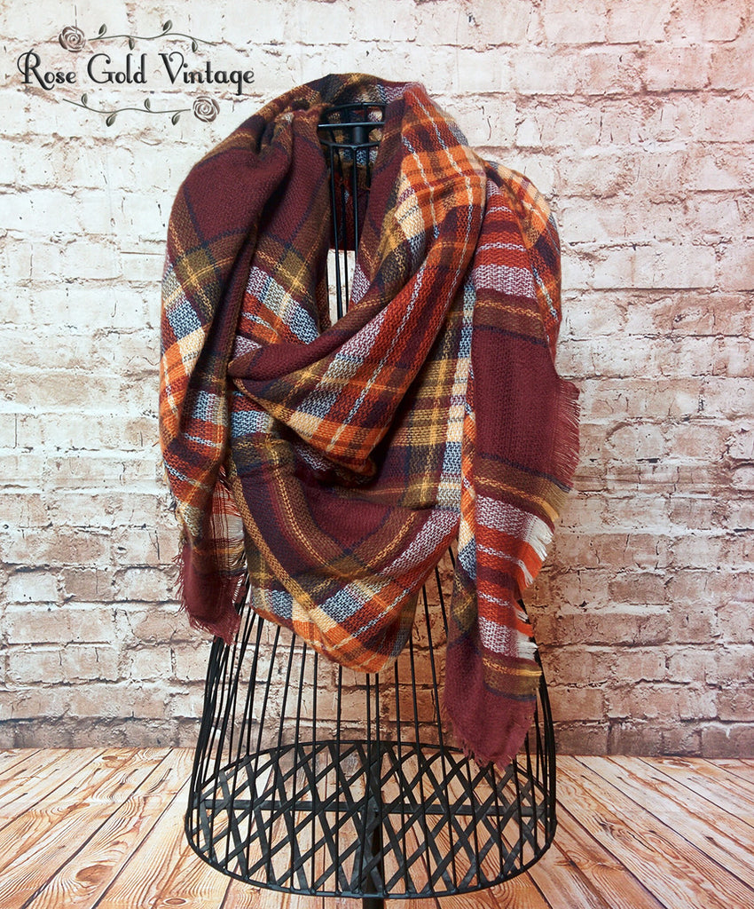 Oversized Perfect Plaid Blanket Scarf - Coffee