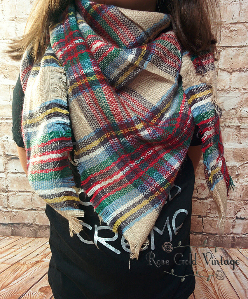 Perfect Plaid Blanket Scarf for Girls - Beige