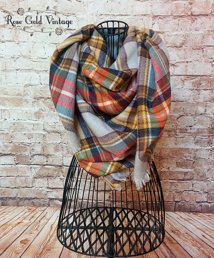 Oversized Perfect Plaid Blanket Scarf - Gray