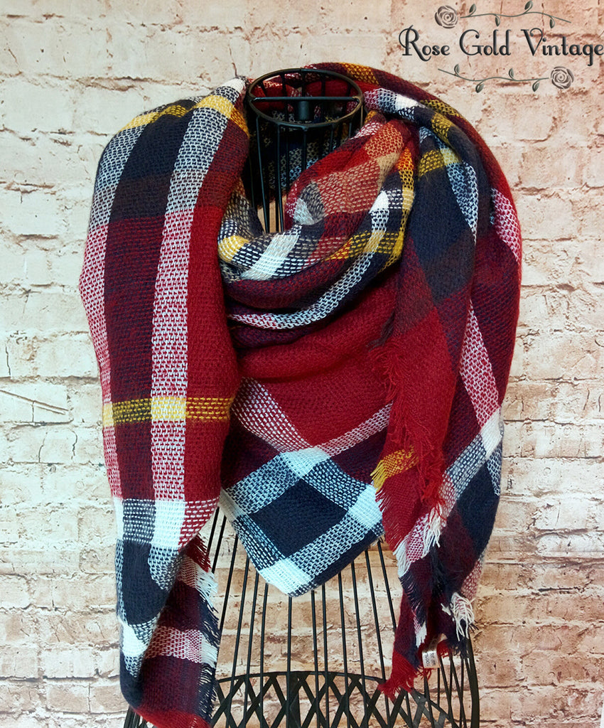 Oversized Perfect Plaid Blanket Scarf - Burgundy