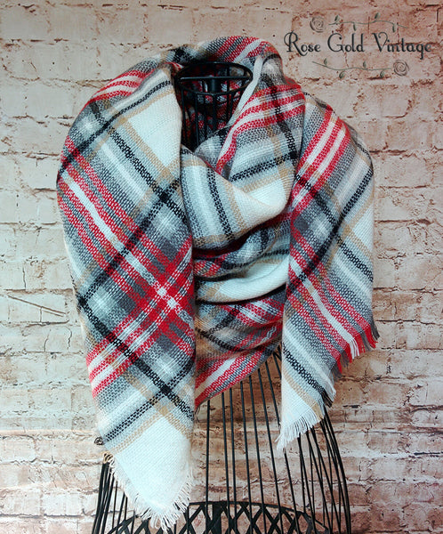 Oversized Perfect Plaid Blanket Scarf - White