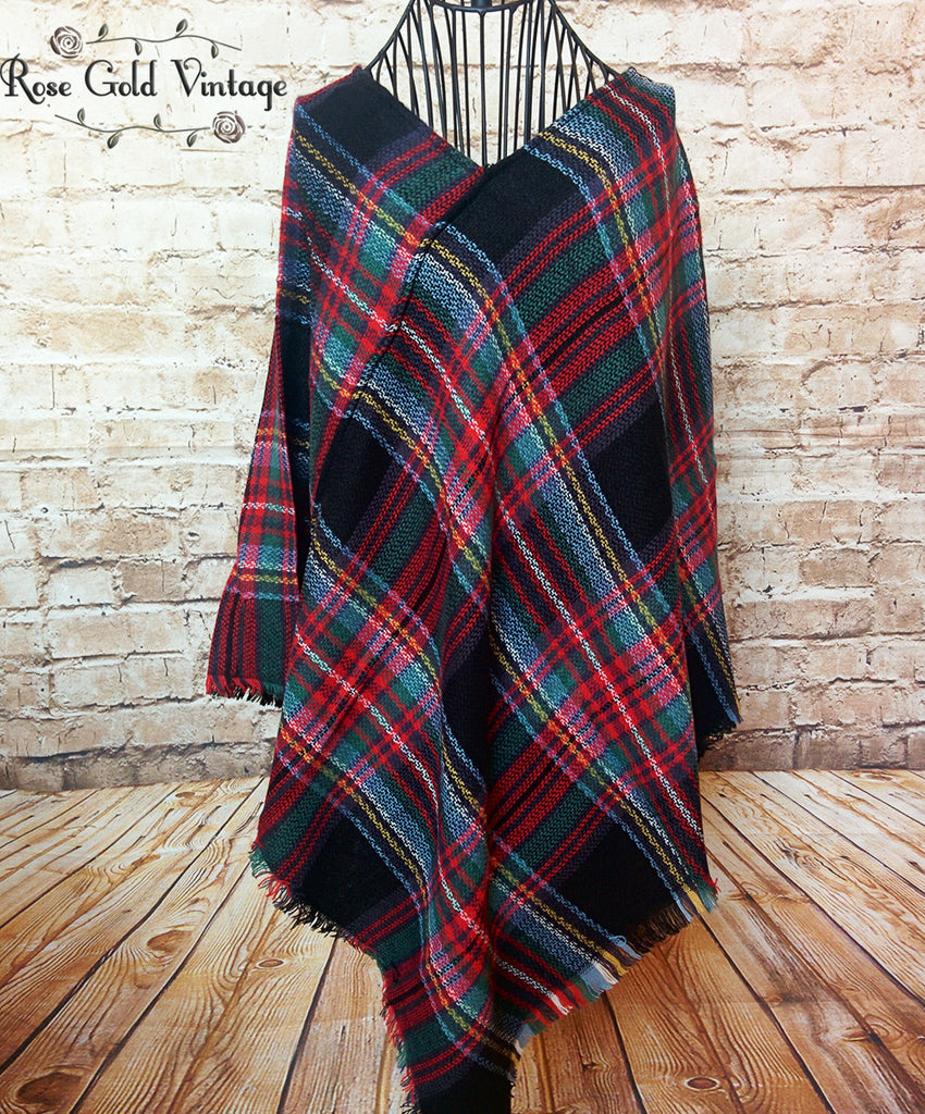 Perfect Plaid Poncho - Black