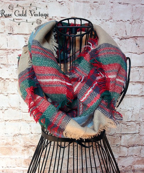 Perfect Plaid Infinity Scarf - Beige