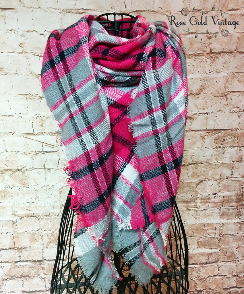 Oversized Perfect Plaid Blanket Scarf - Pink