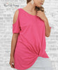 Cold Shoulder Knot Tee - Hot Pink