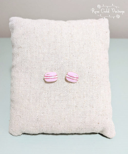 Macaron Stud Earrings - Pink