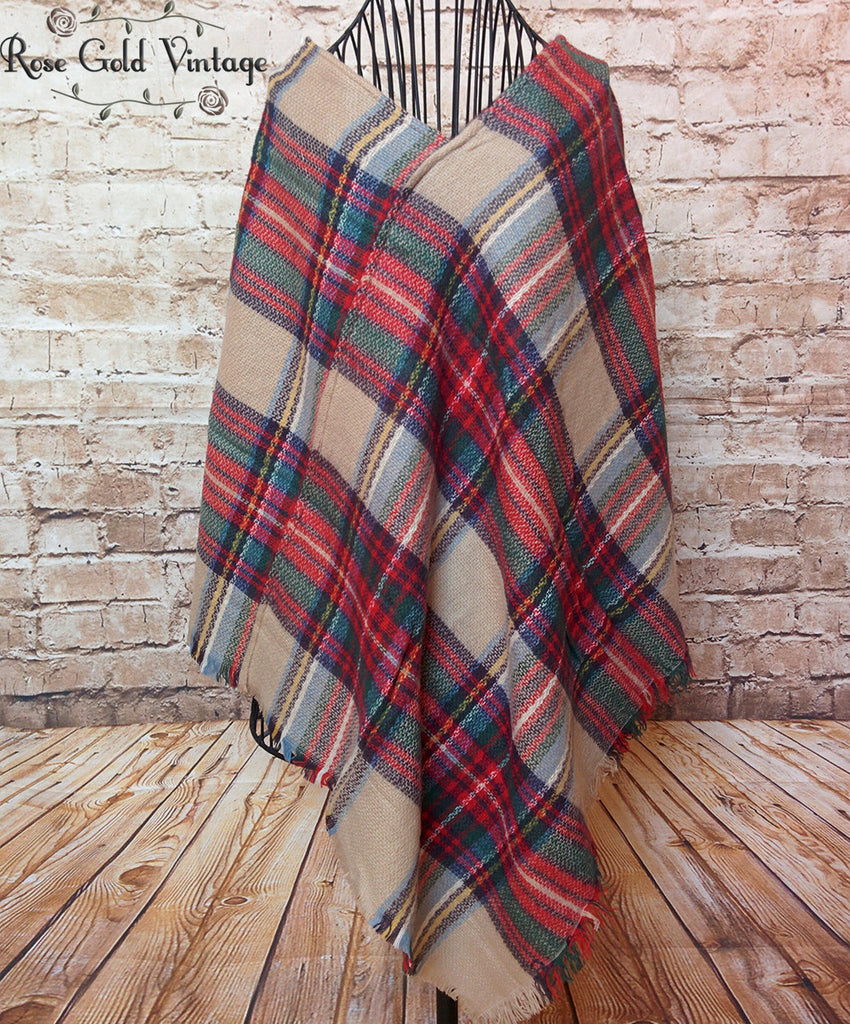 Perfect Plaid Poncho - Beige