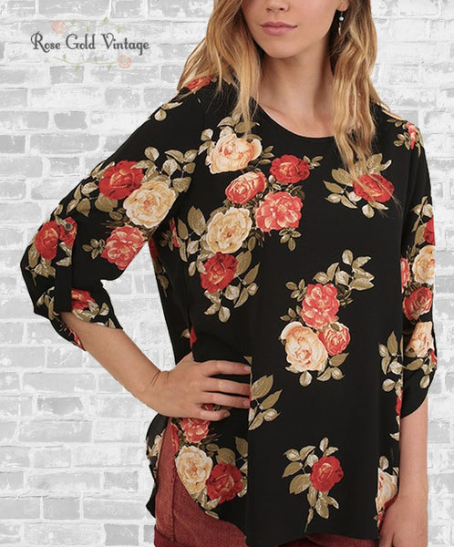 Black Floral Crepe Top