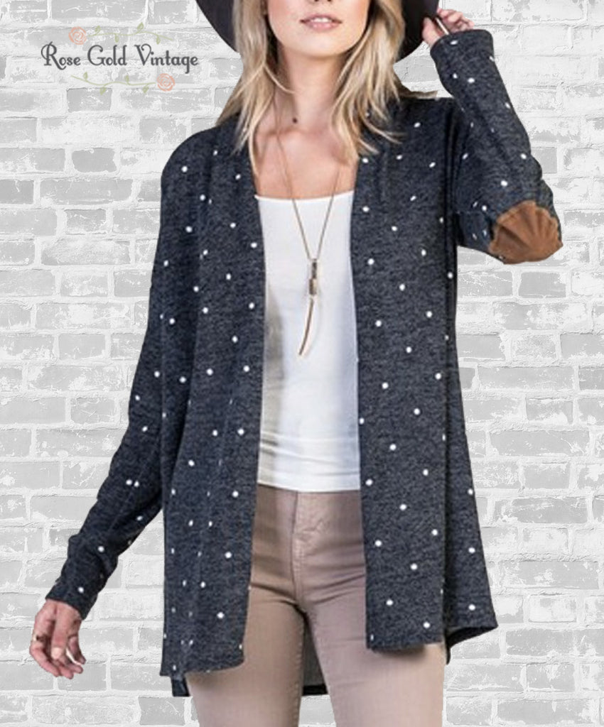 Polka Dot Elbow Patch Cardigan - Navy