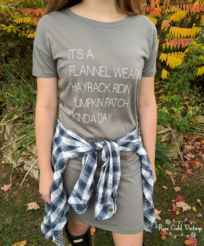 Flannel Wearin, Pumpkin Patch T-Shirt Dress - Gray