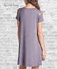 Caged Sleeve Knit Dress - Purple