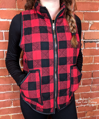 Buffalo Plaid Vest - Red & Black