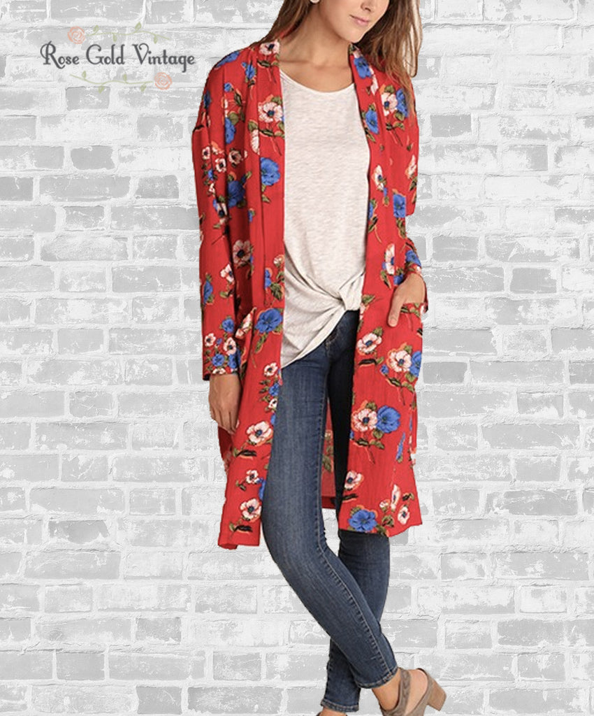 Long Floral Cardigan with Pockets - Red